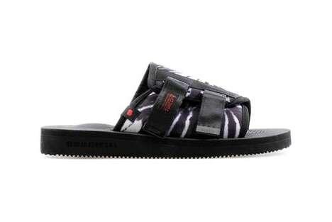 Dark Tie-Dye Slip Sandals