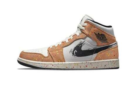 Paint-Stroke Detailed Hi-Top Sneakers