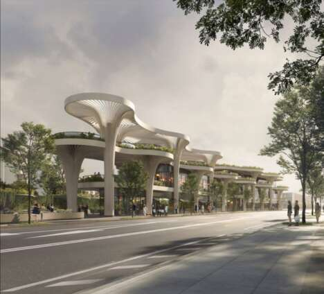 Tree-Inspired Solar-Powered Shopping Centers