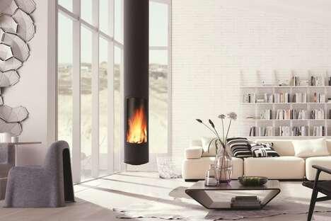 Sleek Cylindrical Tube Fireplaces