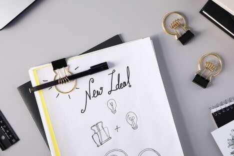 Lightbulb-Shaped Binder Clips