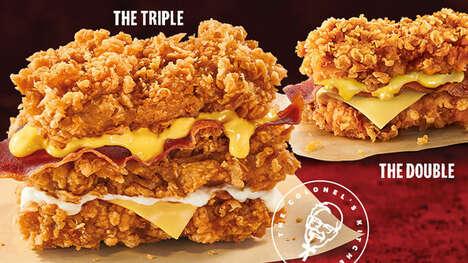 Triple-Chicken Fillet Sandwiches