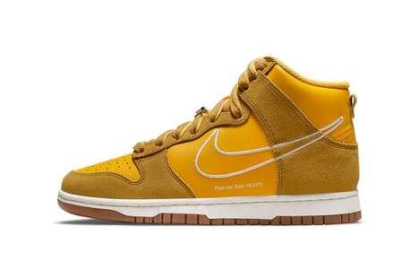 Gold Tonal High-Top Sneakers