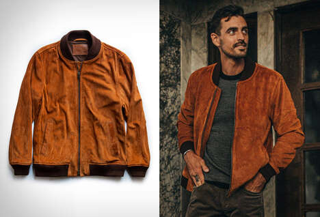 Rugged Suede Bomber Jackets