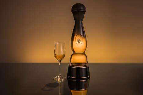 Gold-Adorned Tequila Bottles