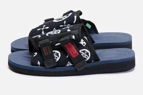 Chunky Graphic-Adorned Slip Sandals