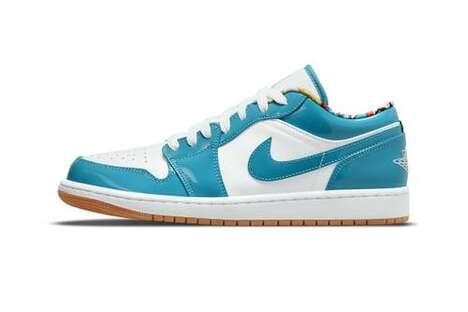 Teal Tonal Low-Cut Sneakers