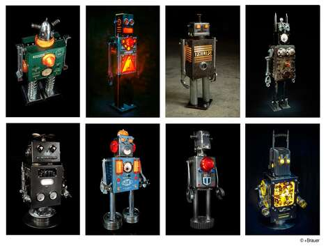 Upcycled Illuminated Robot Sculptures