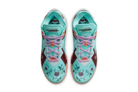 Floral Patterned Basketball Shoes
