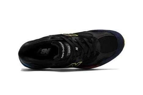Neon-Detailed Dark Tonal Sneakers