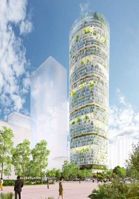 Trailblazing City-Center Farming Towers