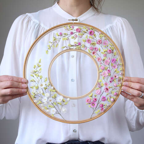 Dried Flower Embroidery Décor