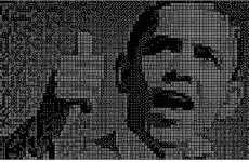 Presidential Toy Murals - Black and White Obaminoes Created With 24,000 Domino Tiles