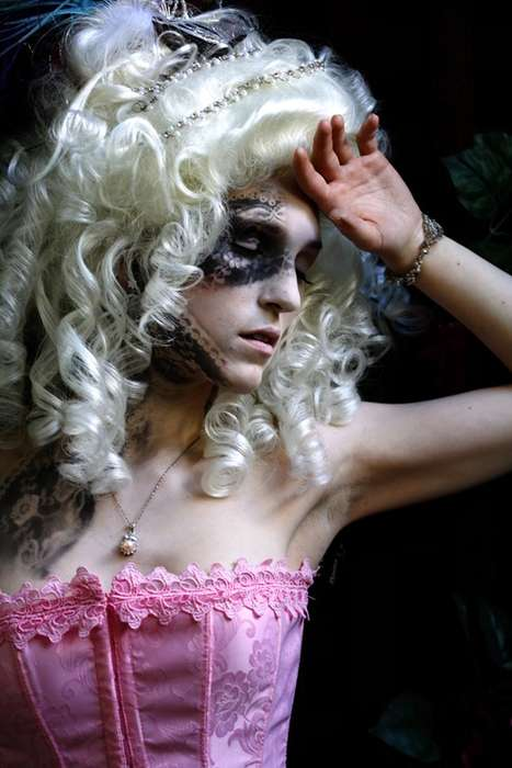 Airbrushed Lace Faces - Ruby Chu Paints Patterns Onto Skin in Marie Antoinette-esque Shoot
