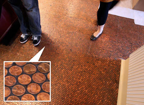 Pennies as Floor Tiles