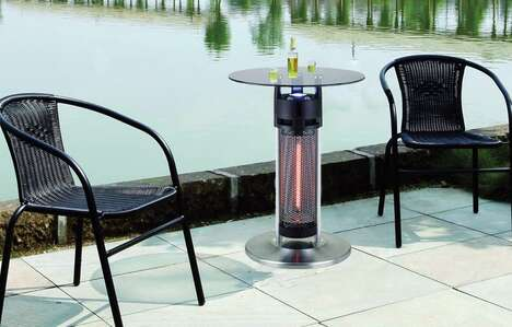 Heater-Equipped Bistro Tables