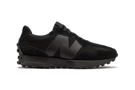 All-Black Synthetic Sneakers