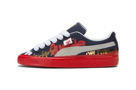 Graffiti-Themed Suede Sneakers