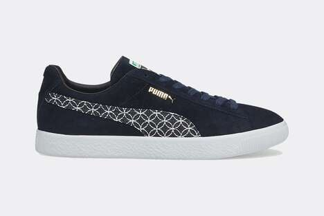 Patterned Logo Suede Sneakers