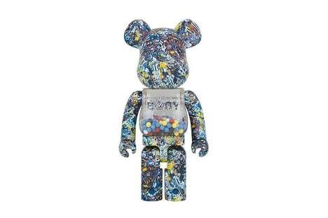 Paint-Splattered Bear Figurines