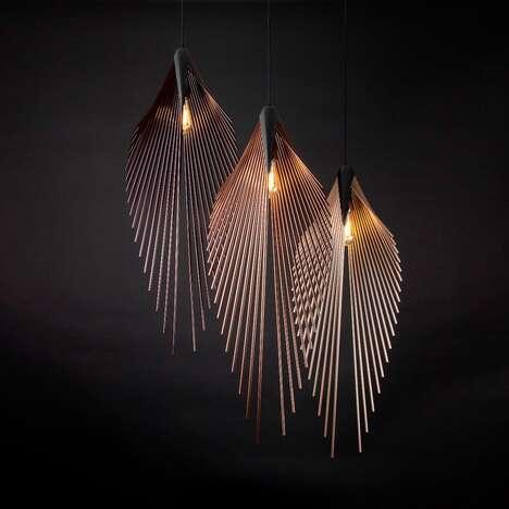 Palm Leaf-Resembling Light Pendants