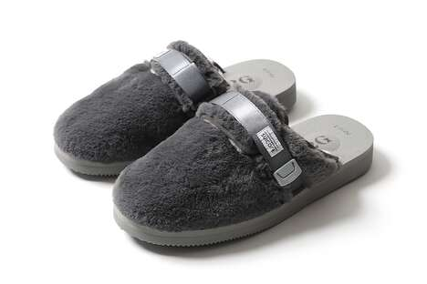 Fluffy Grayscale Slip-On Shoes