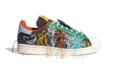 Floral Embroidery Distressed Sneakers