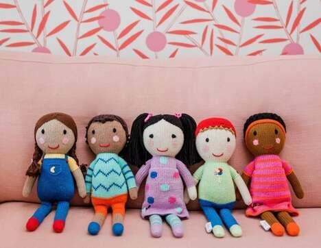 Diverse Hand-Knit Dolls