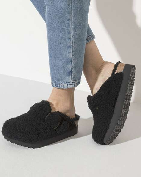 Fuzzy Shearling-Lined Sandals