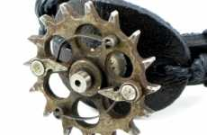 Steampunk Biker Jewelry - Gear-Laden Wrist Cuff for Badass Fixed-Gear Riders