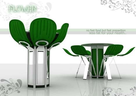 Blooming Furniture - Fatih Can SARIOZ's 'Flower' Transforms Into Table & Chairs