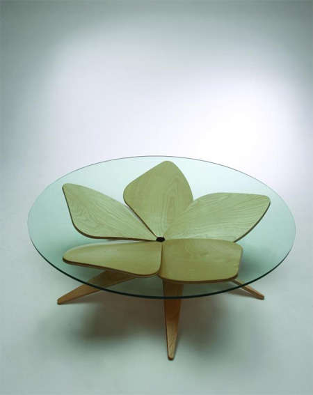 Origami Furnishings - Shige Hasegawa's 'Hana' Table & Lamps Inspired by Flowers