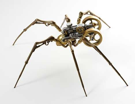 Steampunked Spiders - Long-Legged Insect Creations as Weird Wall Mounts