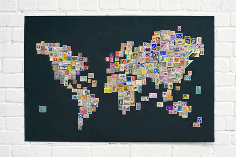 Stamp Maps - Marc Alcock Creates Postage World Map