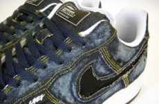Intentionally Stained Shoes - Customized Nike Air Force 1s with Dirty Distressed Denim