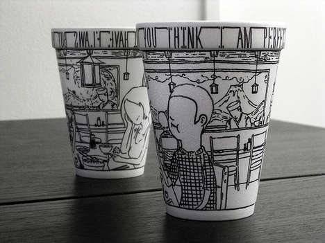 Cheeming Boey Spices Up Dull Styrofoam Cups With Art