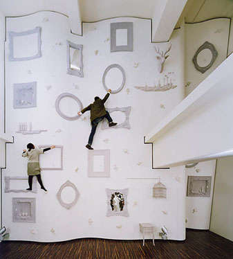 A Climbing Wall That Uses Picture Frames, Mirrors And More
