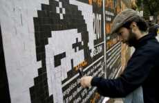 Pixelated Graffiti - Pedro Biz Creates Oversized Paper Square Wall Art