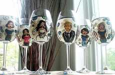 Personalized Wine Glasses - Bridal Party Glasses Feature Cartoons of Your Wedding Party