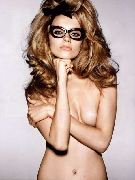 Glasses-Only Garb - Anna Jagodzinska Shows Off Librarian Glasses in Tom Ford Campaign