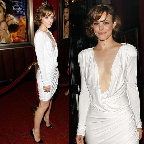 Chest Revealing Premiere Fashion - Rachel McAdams' Deep Plunge Pucci Dress