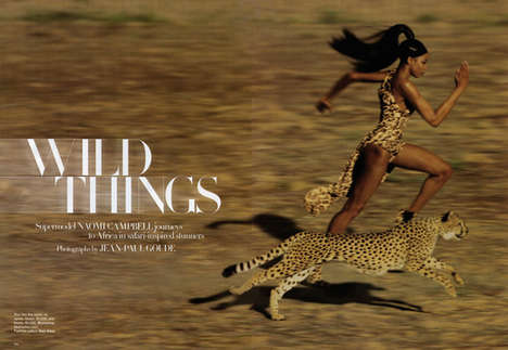 Naomi Campbell is a 'Wild Thing' for Harper's Bazaar Sept