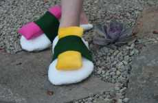 Sushi Slippers - Nigiri Footwear by Sushibooties Has Removable Faux Fish Pieces