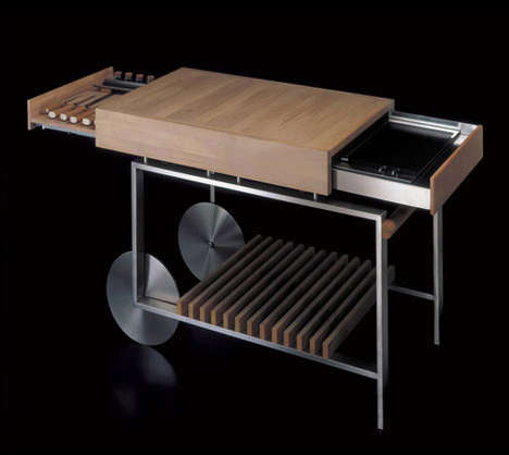 Slide-Out Grills - The Gunni Movable Kitchen Island with Compact Barbeque is Great for Small Spaces
