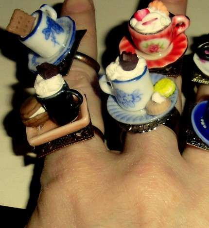 Miniature Tea Party Rings - Cup and Saucer Jewelry by MTuent Are Tiny Treats
