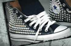 Studded Sneaks - Kettle Black Converse Shoes Capitalize on the Studded Dud Style