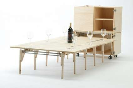 Fold Out Tables Mobile Dining Is Created By Uhiro Teshima