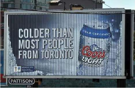 Regional Meanvertising - Molson Coors' Toronto-Trashing Billboards Flop