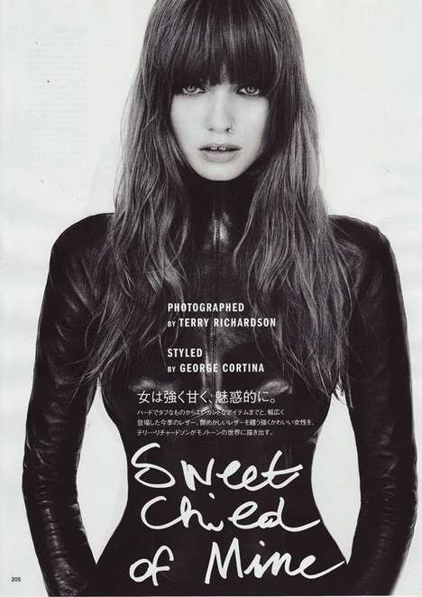 Chic Heavy Bangs - Abbey Lee Kershaw Goes Retro With Rocker Hair for Vogue Nippon