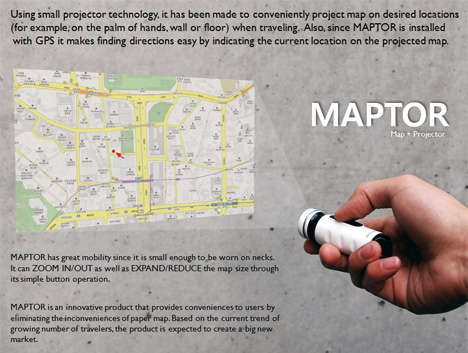 Projecting Maps - The Maptor Shines On a Wall to Show You the Way